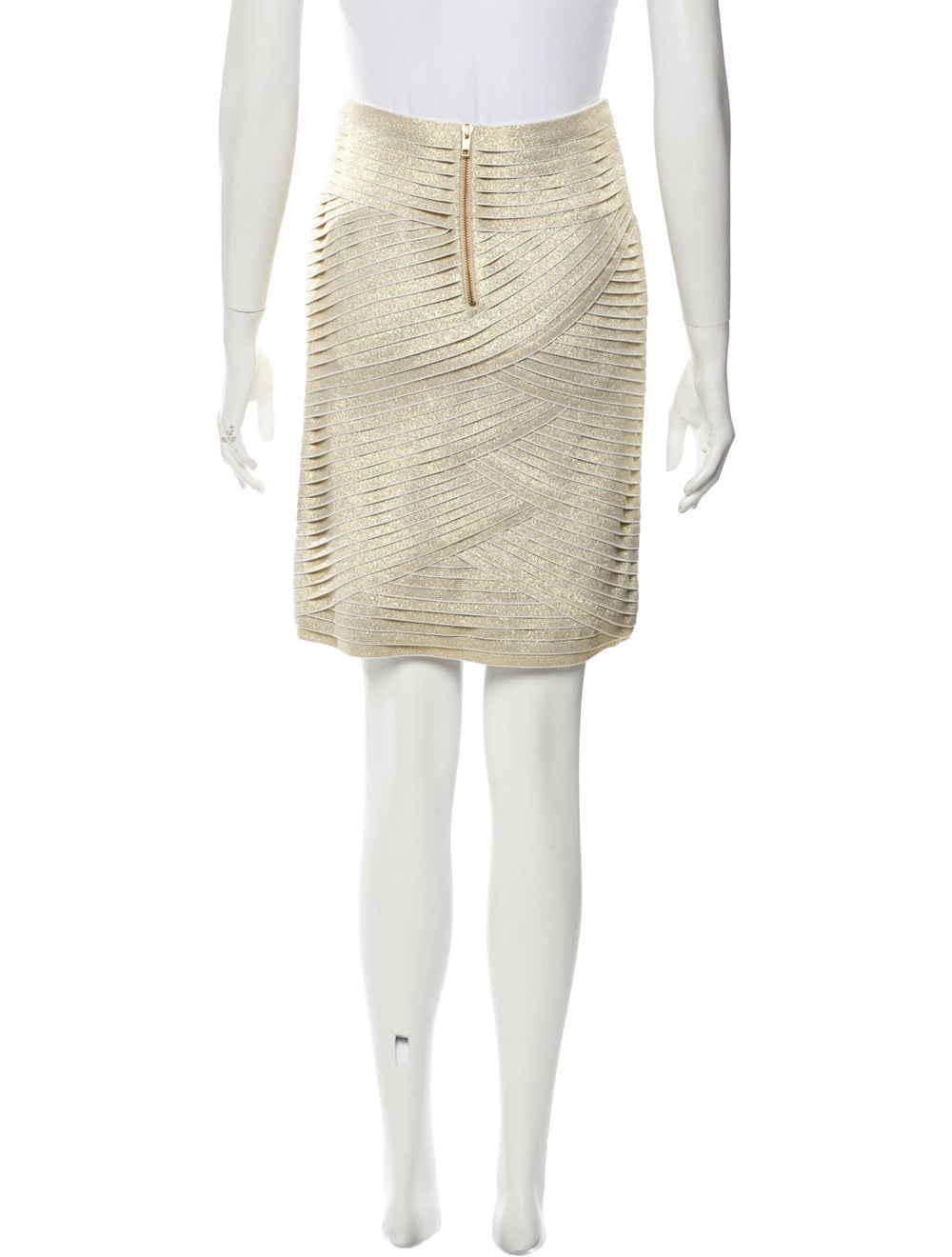 Pierre Balmain Metallic Tiered Skirt w/ Tags Meta… - image 3