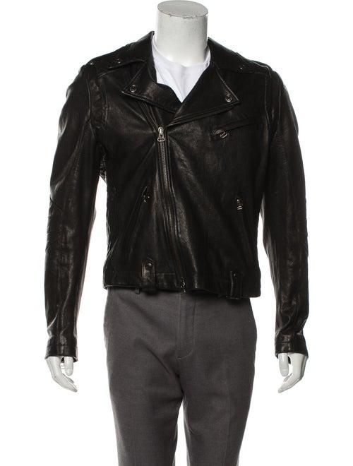 Pierre Balmain Leather Moto Jacket black