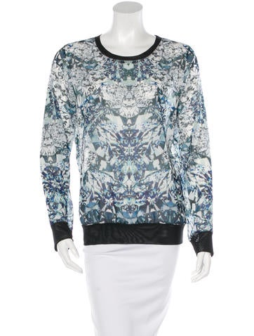 Sachin + Babi Digital Print Mesh-Accented Top w/ Tags None