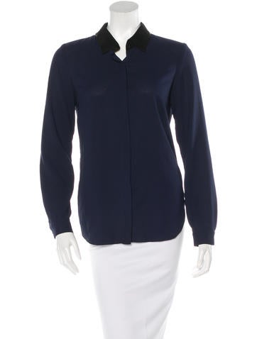 Sachin + Babi Leather-Accented Button-Up Top None