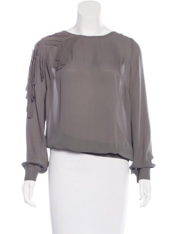 Sachin + Babi Long Sleeve Silk Top None