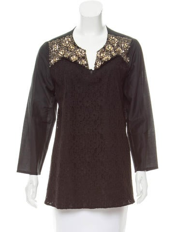 Sachin + Babi Silk Embellished Top None