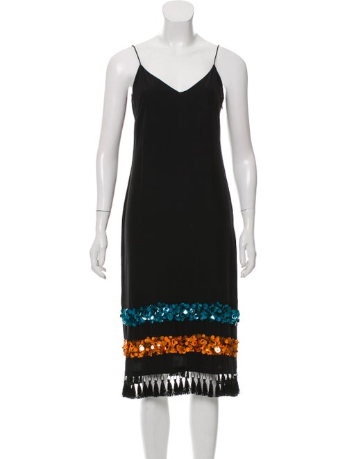 Sachin + Babi Silk Embellished Slip Dress Black