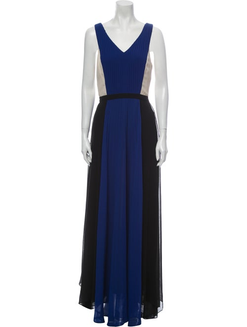 Sachin + Babi Colorblock Pattern Long Dress Blue