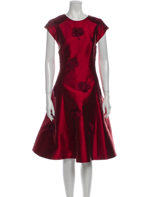 Sachin + Babi Floral Print Midi Length Dress Red