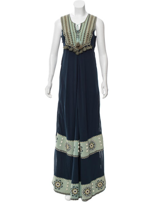 Talitha Poplin Embroidered Dress w/ Tags Blue - image 1