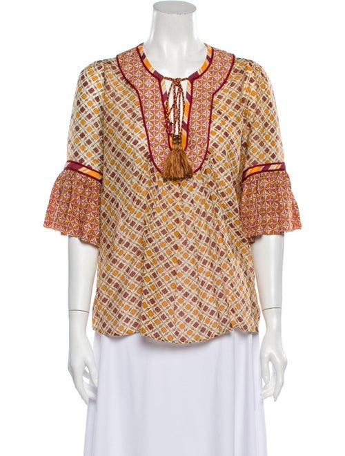 Talitha Printed Tie Neck Blouse Orange