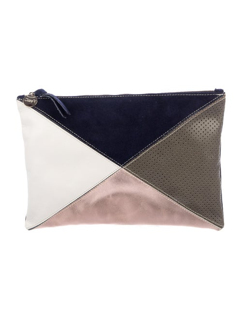 Clare V. Patchwork Zip Pouch Blue