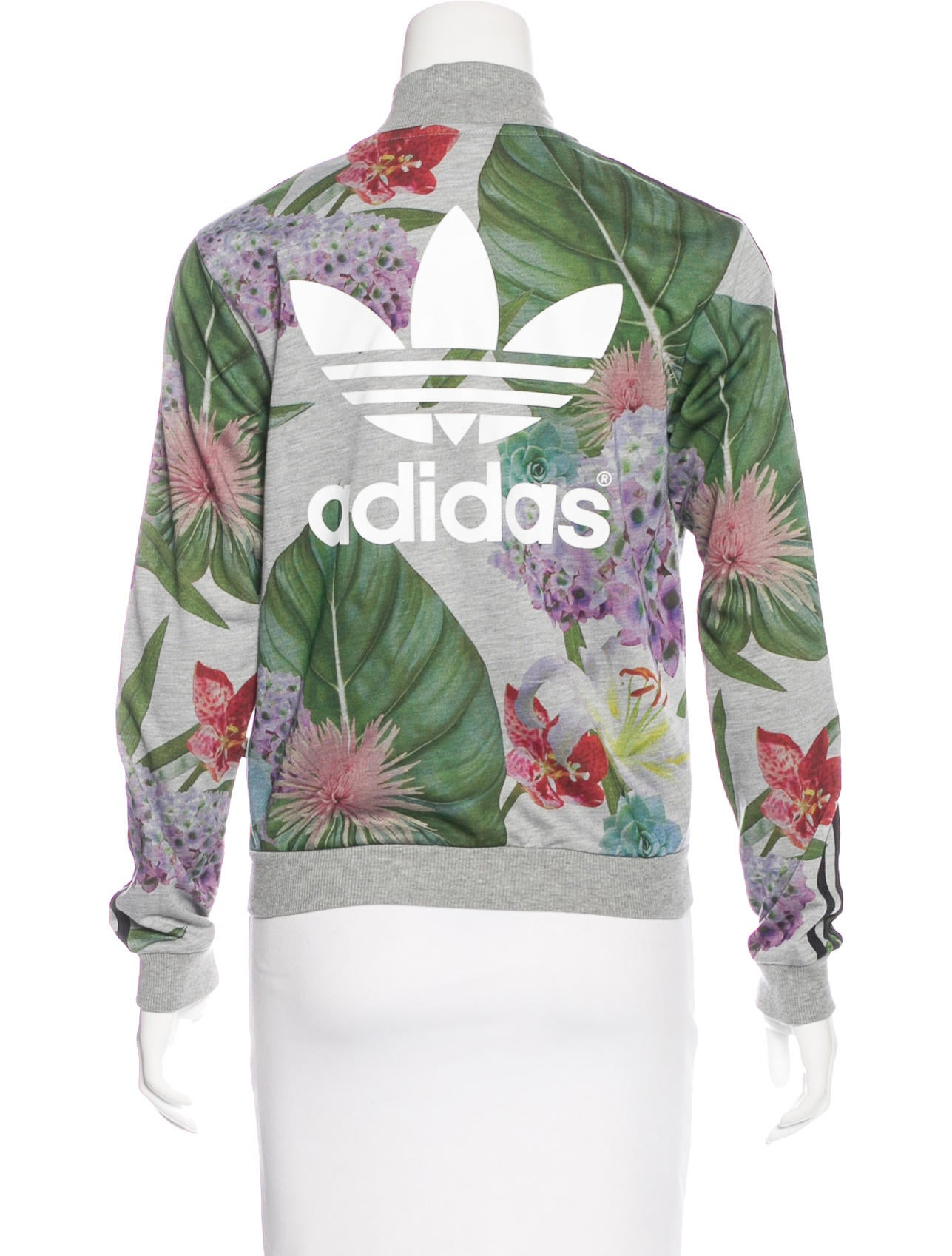 adidas floral print knit jacket - clothing