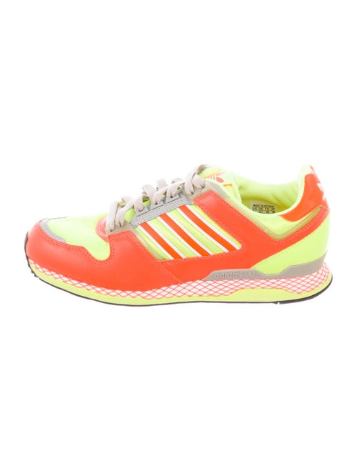 Adidas Leather Printed Athletic Sneakers Orange