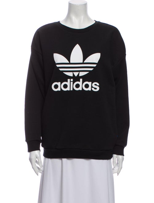 Adidas Graphic Print Crew Neck Sweatshirt Black
