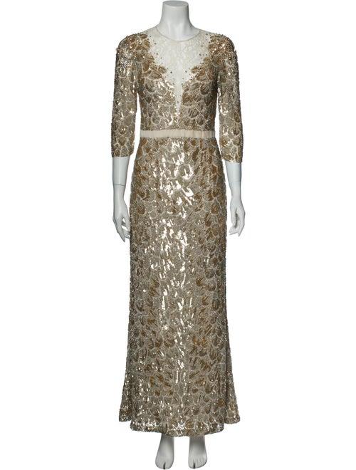Jenny Packham Silk Long Dress Gold