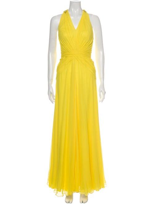Jenny Packham Silk Long Dress Yellow