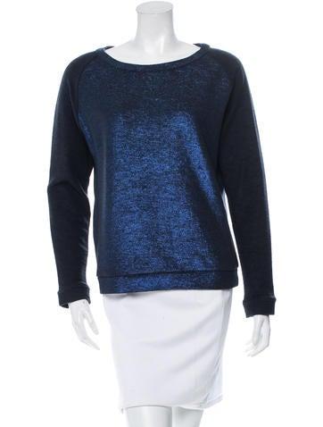Maje Metallic-Accented Knit Sweatshirt None