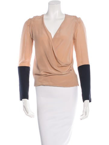 Maje Silk Long Sleeve Top None
