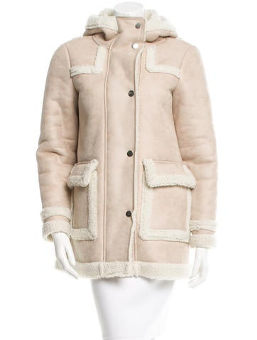 Maje Hooded Faux Shearling Coat