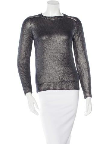 Maje Metallic Long Sleeve Sweater None