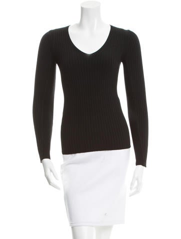 Maje V-Neck Rib Knit Sweater None
