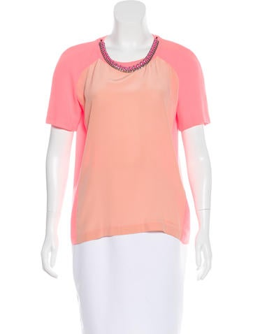 Maje Embellished Colorblock Top