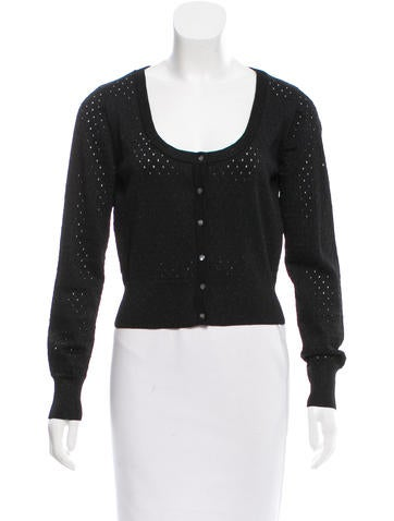 Maje Perforated Knit Cardigan None