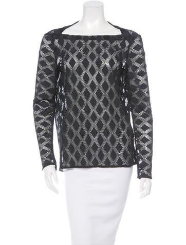 Maje Diamond Patterned Long Sleeve Top None