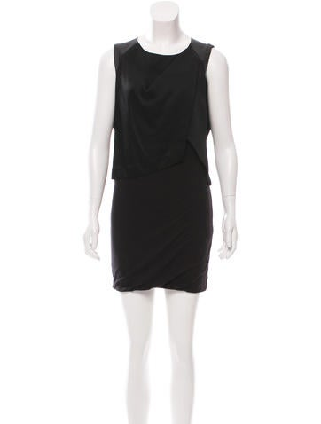 Maje Leather-Accented Sleeveless Dress None