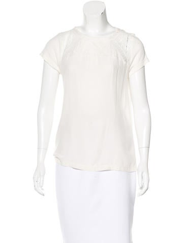 Maje Lace-Accented Short Sleeve Top