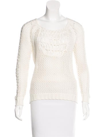 Maje Open-Knit Scoop Neck Sweater None