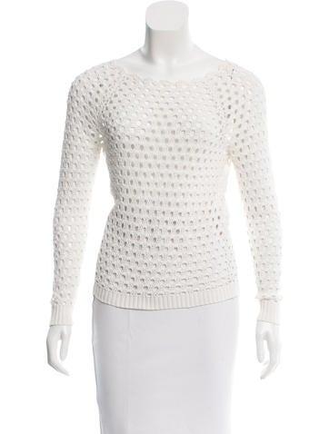 Maje Open Knit Long Sleeve Sweater None
