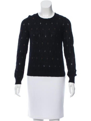Maje Bead-Embellished Rib Knit Sweater None