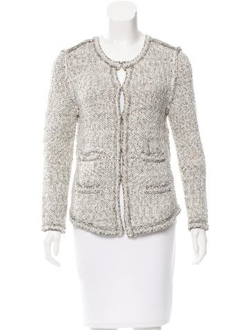 Maje Collarless Knit Cardigan None