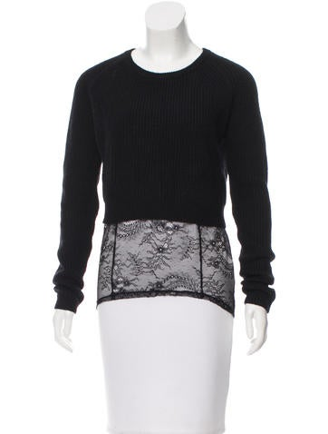 Maje Lace-Trimmed Rib Knit Sweater None