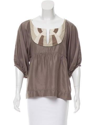 Maje Embellished Silk Top None