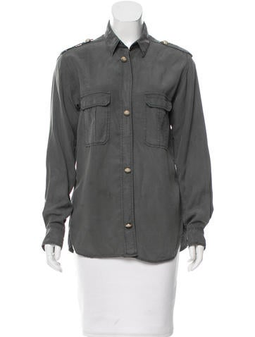 Maje Long Sleeve Button-Up Top None