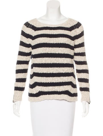 Maje Leather-Trimmed Striped Sweater None
