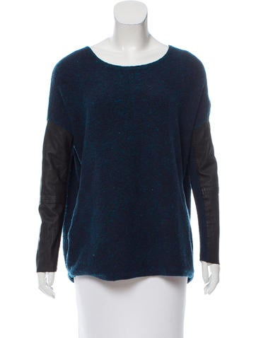 Maje Leather-Accented Knit Sweater None