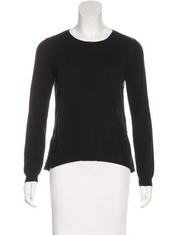 Maje Lace-Paneled Knit Sweater None