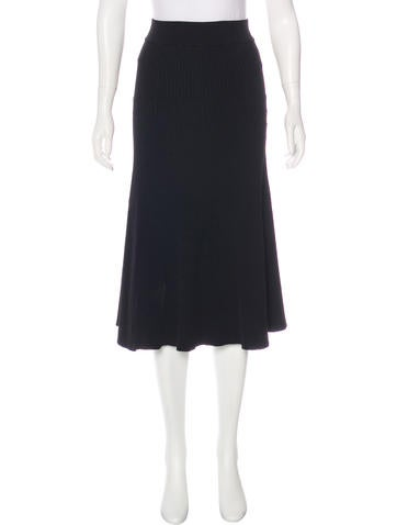 Maje Rib Knit Midi Skirt None