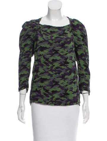 Maje Camouflage Silk Top None