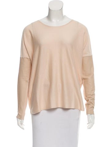 Maje Leather-Accented Silk Top None