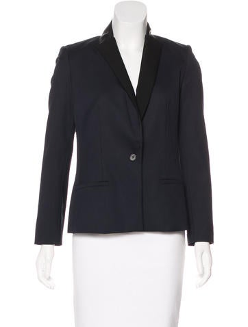 Maje Wool-Blend Leather-Trimmed Blazer w/ Tags None