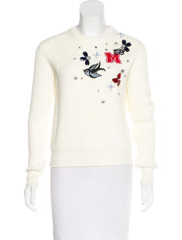 Maje Embellished Crew Neck Sweater None