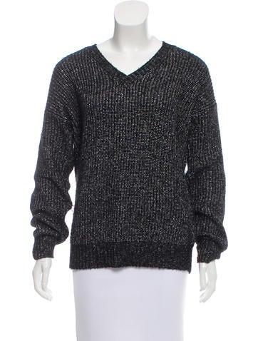 Maje Metallic Rib Knit Sweater None
