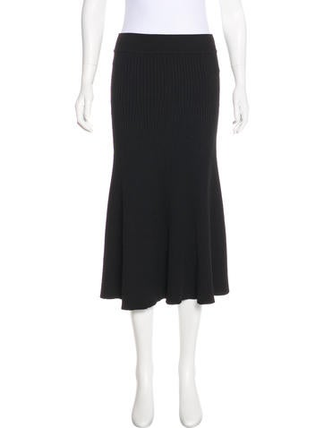 Maje Rib Knit Midi Skirt None