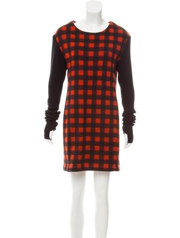 Maje Plaid Long Sleeve Mini Dress None