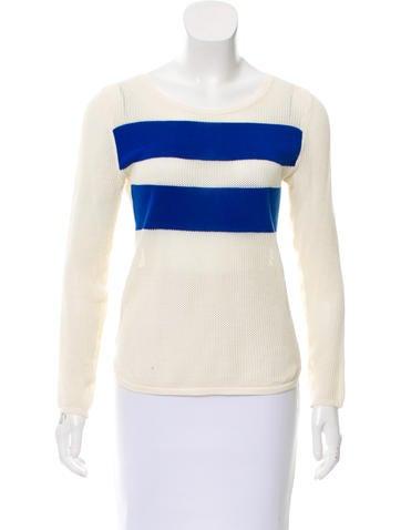 Maje Striped Open Knit Sweater None