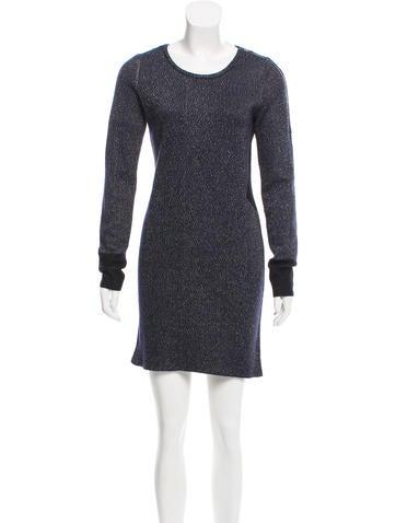 Maje Knit Long Sleeve Mini Dress None