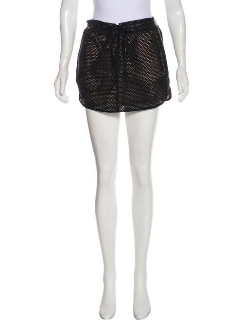 Maje Perforated Suede Mini Skirt Black