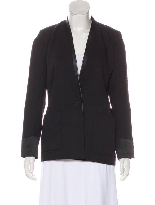 Maje Leather-Trimmed Collarless Blazer Black