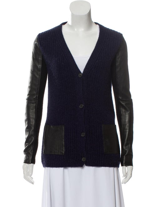 Leather-Trimmed Ornella Cardigan Navy